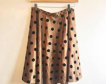 Vintage 50s/gold/ skirt/ full circle skirt/ giant polka dot skirt