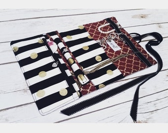Black and White Stripes - Personalized Jewelry Travel Case, Jewelry Travel Roll, Jewelry Organizer,Jewelry Bag; Weddings,Bridal Party