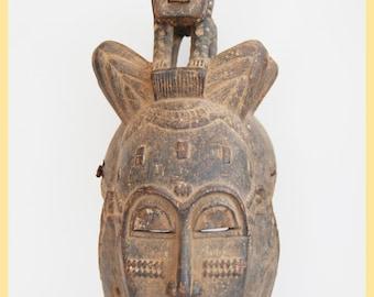 ORIGINAL BAULE - ANIMALISTIC Tribally used Mask From the Baule Tribe, Ivory Coast, West Africa
