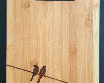 Personalized bamboo cutting board, birds on a wire - Free Shipping!