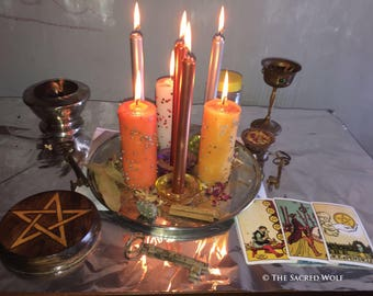 Ritual for economy. Money. Candles. Wicca. Pagan. Druid. Magic Herbs. Magic Ritual. Pyrite. Powerful