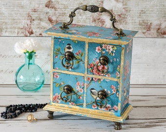 Mini Chest of Drawers - Vintage Jewellery Box - Apothecary Cabinet - Jewelry Drawers - Shabby Chic - Mothers Day, Birthday, Christmas Gift