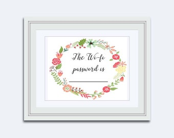 wi fi password - wifi printable - guest room print - diy print - Guest Wifi - gift for her - flower wreath print - Printable Art - wall art