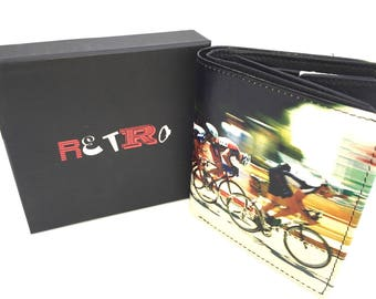 Cycling mens premier quality leather trifold  wallet