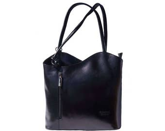 Italian handmade leather convertible shoulder bag backpack in black