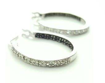 Vintage Sterling Silver Petite Hoop Earrings with Small Clear and Dark Gemstones
