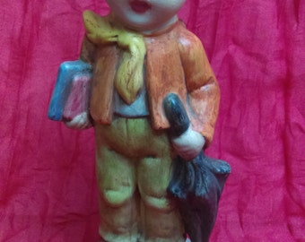 Vintage Ceramic Boy Figurine Hand Made by Janice 1972 Art and Collectibles