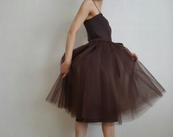 Tulle skirt petticoat light brown skirt length 70 cm