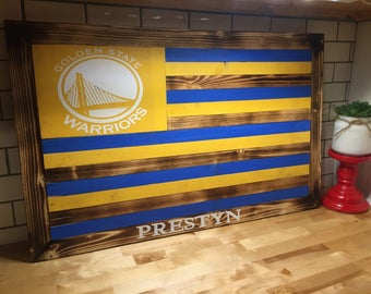 Golden State Warriors wooden flag - Customize for free