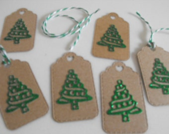 Handmade Diecut Tag Kraft Cardstock Christmas Tree Tags, Party Favour Tags, Labels, Card Toppers