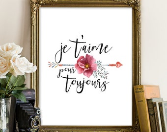 Je taime, French quote, Floral printable, love quote, love printable, love card, Je t'aime, floral arrow, arrow printable, arrow wall art