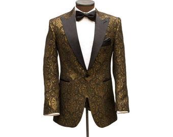 Ellis ESQ Great Gatsby Collection ( Black & Gold ) brocade dinner jacket. -