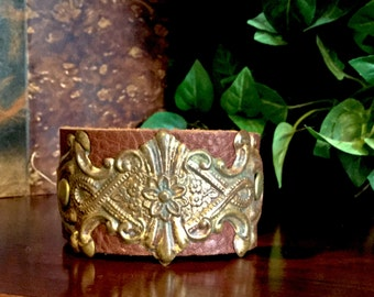 Vintage Victorian Scrolling Flowers Cuff Bracelet Repurposed From Vintage Hardware On Brown Leather