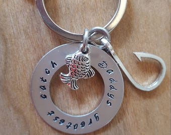 Great Fathers Day Gift//Daddy's Greatest Catch Keyring// Personalized Keyring for Fathers Day