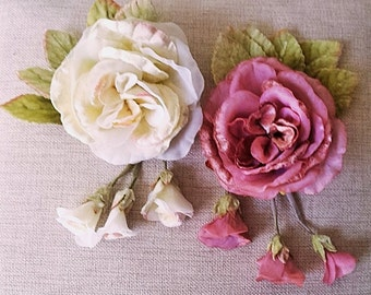 Millenery Flowers Velvet and Organdie Peony Rose Ivory, Plum for church pews, table decor, Lampshades