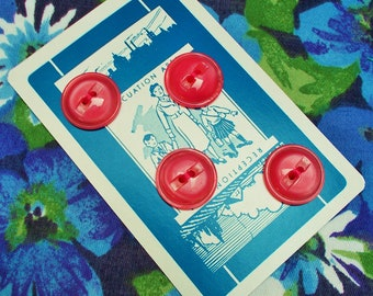 Vintage Polyester Buttons - 1960's/1970's - Deep rose pink with a sheen  - 4 two-holed buttons on a playing card - unused