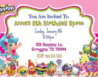 Shopkins Birthday Spree Invitation (Digital File)