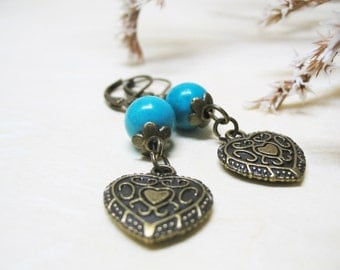 Turquoise Earrings Turquoise Jewelry Crystal Jewelry Vintage Earrings Dangle Earrings Romantic Earrings Heart Charm Gemstone Earrings