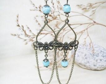 Amazonite Earrings Chandelier Earrings Beaded Earrings Gemstone Earrings Vintage Earrings Boho Earrings Romantic Earrings Ethnic Earrings