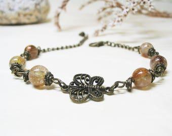 Rutilated Quartz Bracelet Rutile Quartz Jewelry Vintage Bracelet Ethnic Bracelet Gemstone Bracelet Romantic Bracelet Golden Rutilated Quartz