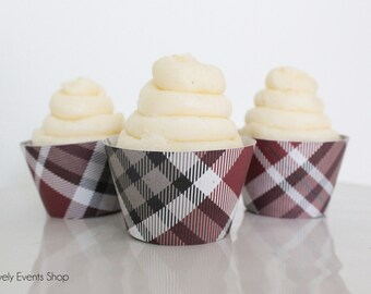 Woodland Plaid Cupcake Wrappers, Plaid Cupcake Wrappers, Red Cupcake Wrappers, Fall Cupcake Wrappers-Set Of Set of 6, 12, 18, 24+