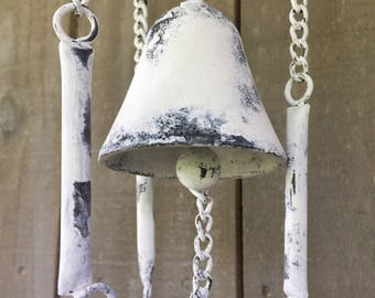 French Country Wind Chime, Shabby Chic Distressed Off White Cast Iron  Fleur de Lis