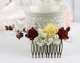 Dark Red Ivory Cream Comb, Wine Red Ivory Bridal Comb, Bridesmaids Gift, Gift For her, Christmas Gift Comb, Red Ivory Wedding