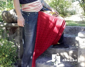 Harem pants mixed composition patchwork jeans and Sahara red size S Akwaba Creations fabric