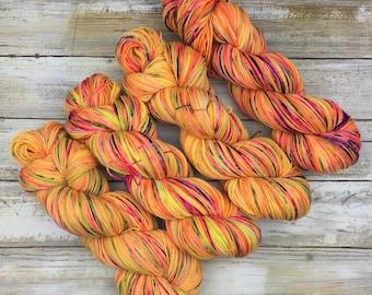 Hand Dyed Yarn | Superwash South American Wool/Nylon Blend | Robust Sock/Fingering Weight | 100 g.| Pineapple Kona Pop | 4-ply