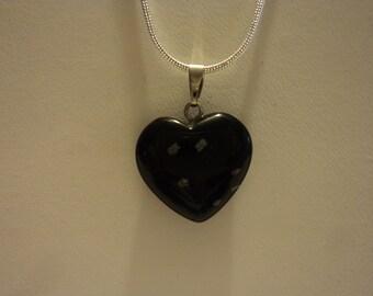 Necklace Heart Charm Pendant, Crystal Quartz, Heart Pendant Necklace, Snowflake Obsidian