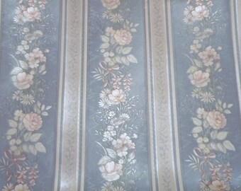 Vintage Striped Wallpaper - Floral Wallpaper, Vintage Floral Wallpaper, Blue Striped Wallpaper, Shiny Wallpaper, French Blue Wallpaper