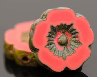 Czech Glass Flower Beads - Pansy Beads - Hawaiian Beads - Hibiscus Beads - Coral Red Opaque with Picasso Finish - 12mm - 6 or 12 beads