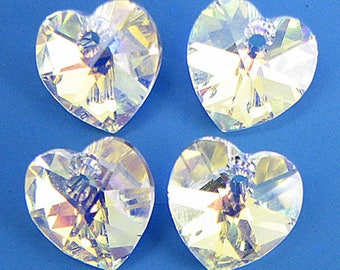 4 10mm Swarovski crystal heart pendant 6202 crystal AB 6014