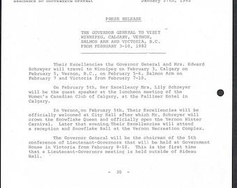 Rideau Hall - Government House Press Release - 1982 - Original Ephemera