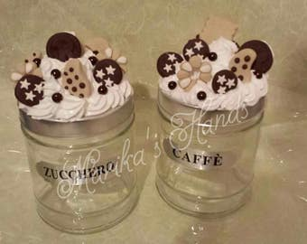 Salt sugar coffee jars with treats in polymer clay