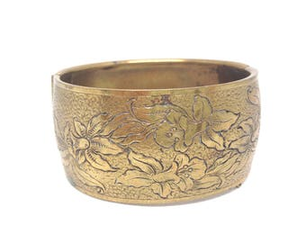 Stunning Vintage Estate Brass Textured Flower Bracelet