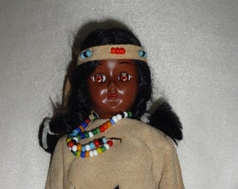2 70's Vintage Carlson Dolls - Eskimo and Native American