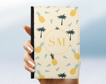 Personalised Passport Cover Holder Pineapple Palm Tree Summer | Gift For Travel Luggage Airport Custom Initials | Travel Accessories Holiday