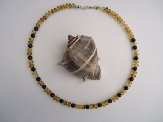 Mexican amber and black onyx necklace, Sterling silver beads and clasp, Handmade