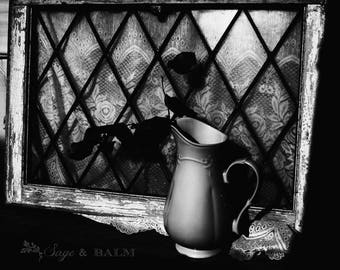 Chippy paint antique window dark black and white photography, shabby chic print, milk pitcher and lace, minimalist, monochrome, cottage chic