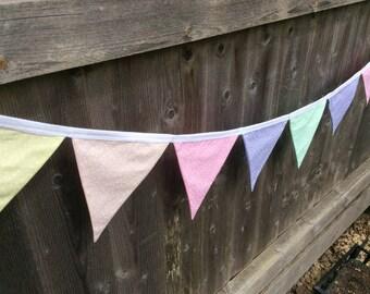 Fabric bunting, fabric garland, nursery bunting, nursery garland, summer bunting, nursery decoration, baby bunting,