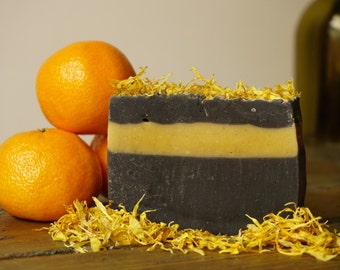 Charcoal Soap | Orange and Eucalyptus Charcoal Soap, Natural Soap Bar, Essential Oil Soap