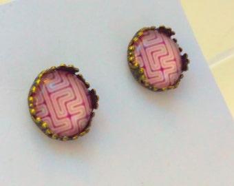 Purple, geometric earrings, purple earrings, purple stud earrings, studs earrings, purple cabochon earrings, studs, studs earrings, stud  #3