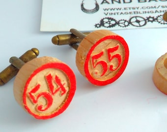1.7cm Handmade cufflinks, quirky  cufflinks, upcycled cufflinks, bingo cufflinks, wooden cufflinks, bridegroom, number cufflinks, bingo