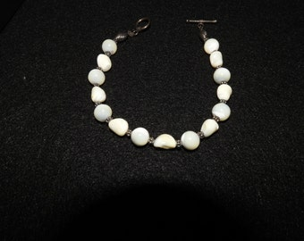 Mother of Pearl and Bali Silver Bracelet