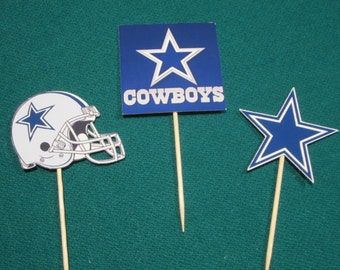 Cupcake toppers, party supplies, Dallas Cowboys, NFL, football, sports theme
