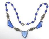 Art Deco Pendant Necklace Cobalt Blue Czech Glass