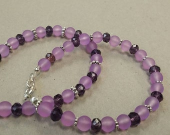 Dark purple and frosted glass beads