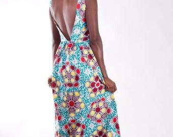 Backless Maxi dress, Backless Ankara dress, printed maxi dress, African Maxi dress, African print Maxi, party dress, summer dress