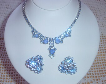 Baby Blue Moonstone and Rhinestone Necklace and Earrings Set